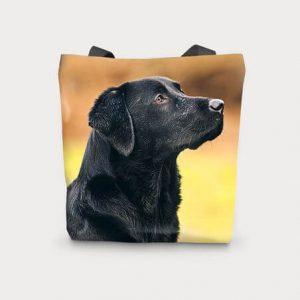 Canvas Cotton Printed Totes Black Lab Dog Bag