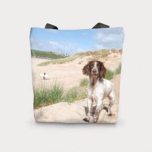 Canvas Cotton Printed Totes Spaniel Beach Dog Bag