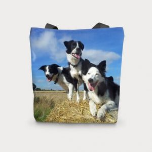 Canvas Cotton Printed Totes Border Collie Dog Bag